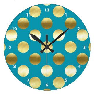 Chic Gold Foil Polka Dots Turquoise Wallclock
