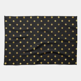 Chic Gold Glam and Black Dots Towels