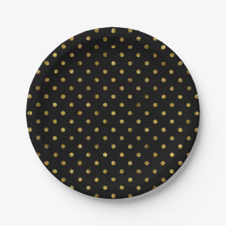 Chic Gold Glam and Black Polka Dots 7 Inch Paper Plate