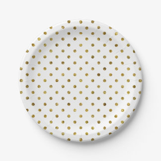 Chic Gold Glam Polka Dots 7 Inch Paper Plate