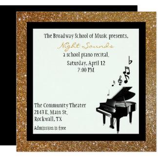 Chic Gold Glitter Look Piano Recital Invitation