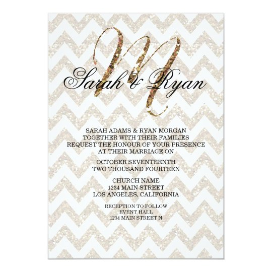 CHIC GOLD GLITTER PRINT WEDDING INVITATION