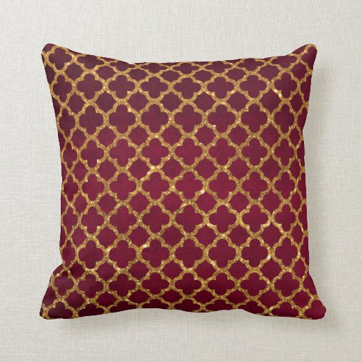 Burgundy Print Throw Pillows : Chic Gold Glitter Quatrefoil Girly Red Burgundy Zazzle