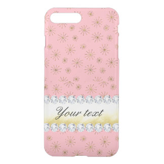 Chic Gold Glitter Snowflakes Pink iPhone 8 Plus/7 Plus Case