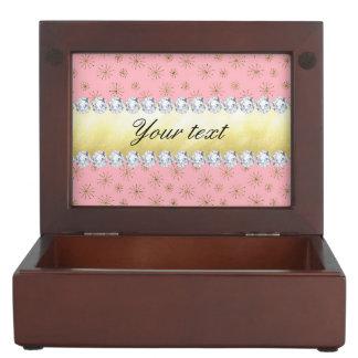 Chic Gold Glitter Snowflakes Pink Keepsake Box