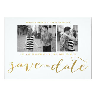 CHIC GOLD HANDWRITTEN | PHOTO SAVE THE DATE 13 CM X 18 CM INVITATION CARD