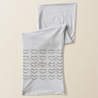 Chic Gold Heart Add Initials Scarf