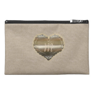 Chic Gold Heart Linen Look  Bag Travel Accessory Bags