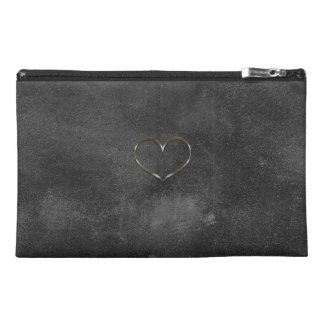 Chic Gold Heart Old Leather Look  Bag Travel Accessory Bags