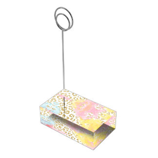 Chic gold leopard pattern watercolor brushstrokes table card holder