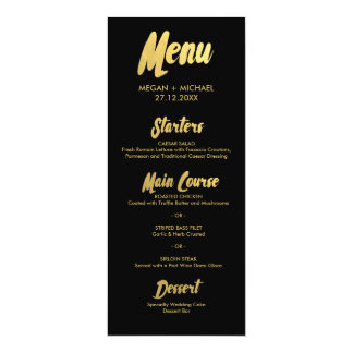 Chic Gold Menu card | typography golden letters