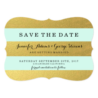 CHIC GOLD | MINT STRIPES SAVE THE DATE 13 CM X 18 CM INVITATION CARD