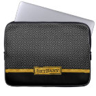 Chic Gold Name and Black Greek Key Pattern Laptop Sleeve