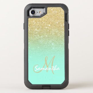 Chic gold ombre mint green block OtterBox defender iPhone 7 case