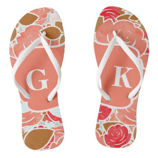 Chic Gold & Peach Watercolor Rose Floral Monogram Thongs