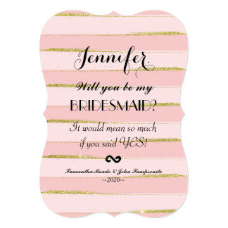 Chic Gold Pink Stripes Bridesmaids Invitations
