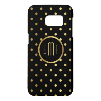 Chic Gold Polka Dots on Black with Monogram