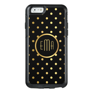 Chic Gold Polka Dots on Black with Monogram OtterBox iPhone 6/6s Case