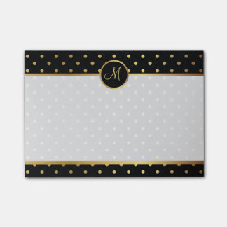 Chic Gold Polka Dots on Black with Your Monogram Post-it Notes