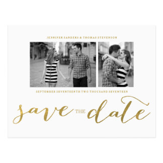 CHIC GOLD PRINT | SAVE THE DATE POSTCARD