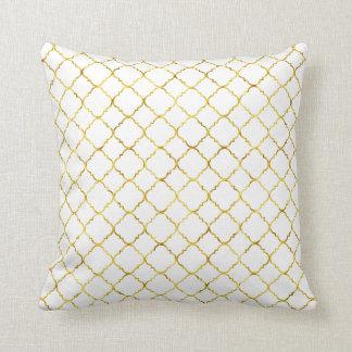Chic Gold Quatrefoil Throw Cushions