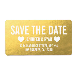 CHIC GOLD SAVE THE DATE SHIPPING LABEL