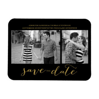 Chic Gold Script Save the Date Magnet Invitations