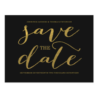 Chic Gold Script Save the Date Postcard