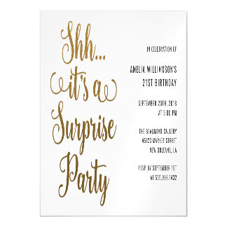 Chic Gold Shh... It's a Surprise Party Typography Magnetic Card