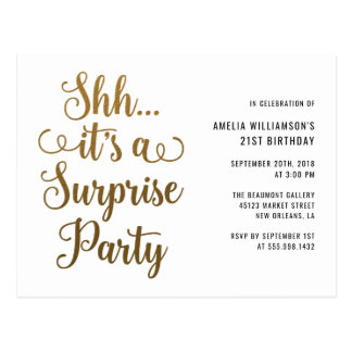 Chic Gold Shh... It's a Surprise Party Typography Postcard