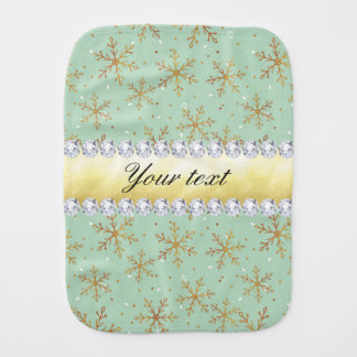 Chic Gold Snowflakes and Diamonds Pale Green Burp Cloth