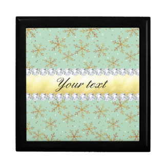 Chic Gold Snowflakes and Diamonds Pale Green Gift Box