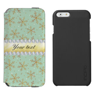 Chic Gold Snowflakes and Diamonds Pale Green Incipio Watson™ iPhone 6 Wallet Case