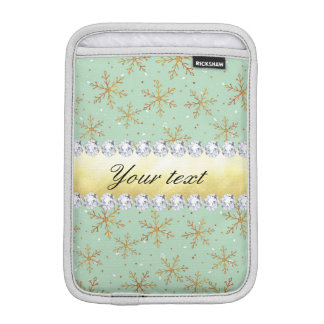 Chic Gold Snowflakes and Diamonds Pale Green iPad Mini Sleeve
