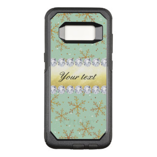 Chic Gold Snowflakes and Diamonds Pale Green OtterBox Commuter Samsung Galaxy S8 Case