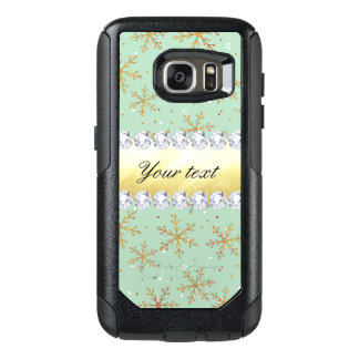 Chic Gold Snowflakes and Diamonds Pale Green OtterBox Samsung Galaxy S7 Case