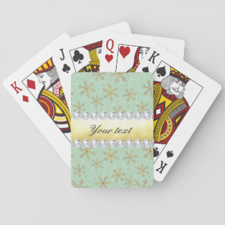 Chic Gold Snowflakes and Diamonds Pale Green Playing Cards