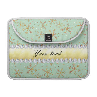 Chic Gold Snowflakes and Diamonds Pale Green Sleeve For MacBook Pro