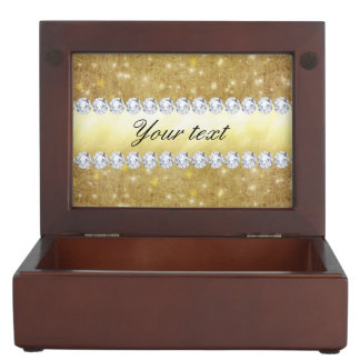 Chic Gold Sparkling Stars and Diamonds Keepsake Box