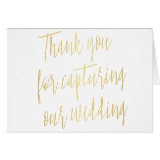 """Chic Gold """"Thank you for capturing our wedding"""" Card"""
