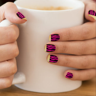 Chic Gold Tipped Pink Zebra Print Nails Minx Nail Art