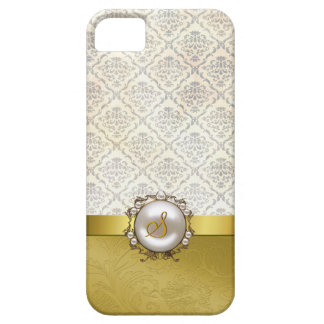 Chic Gold Tone & Cream Damask iPhone 5 Case