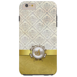 Chic Gold Tone & Cream Damask iPhone 6 Plus case