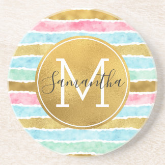 Chic Gold Watercolor Stripes Monogram Coaster