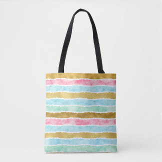 Chic Gold Watercolor Stripes Tote Bag