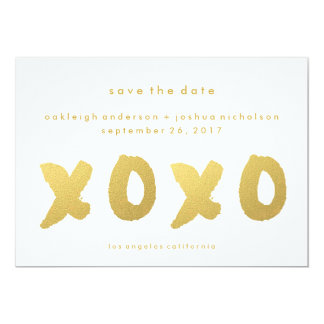 Chic Gold | XOXO Simple Modern Save the Date 13 Cm X 18 Cm Invitation Card