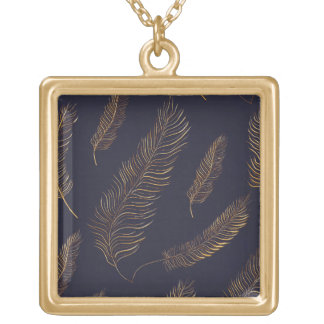 Chic Golden Feather Gold Plated Necklace