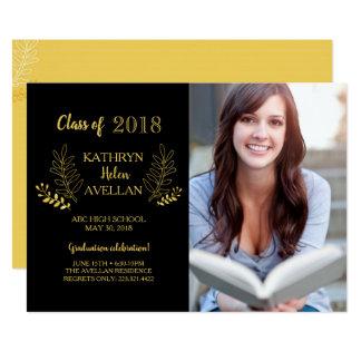 Chic Golden Laurels Graduation Photo Announcement