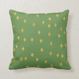 Chic golden like diamond squares on greenery cushion