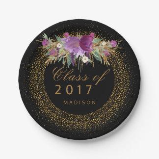 Chic Graduation Floral Gold Sparkle Confetti Black 7 Inch Paper Plate